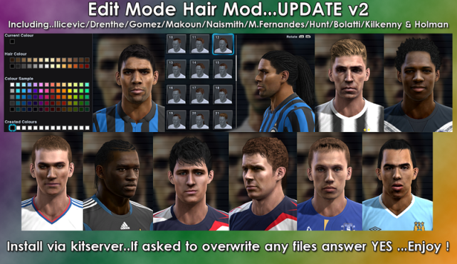 Edit Mode Hair Mod v2 PES2012