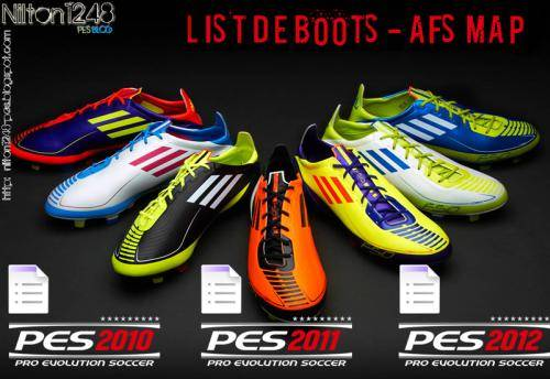 List Of Boots - AFS Map PES 2012 by Nilton1248