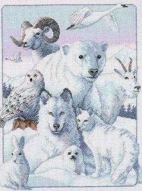 СХЕМА.  Северные животные.  Вышивка крестом, схемы.