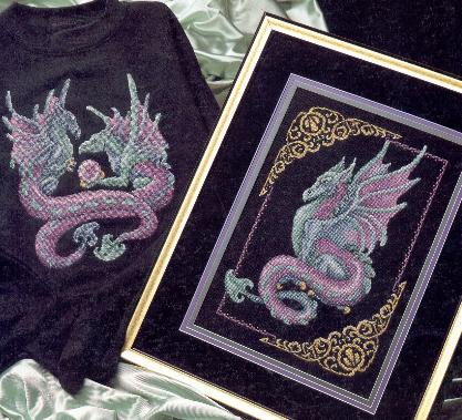 Мистический дракон Вышивка крестом схемы.
