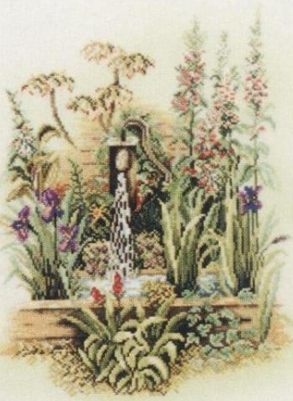 СХЕМА.  Колонка в саду.  Вышивка крестом, схемы.