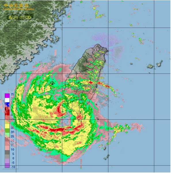 Taifun Tembin über Taiwan